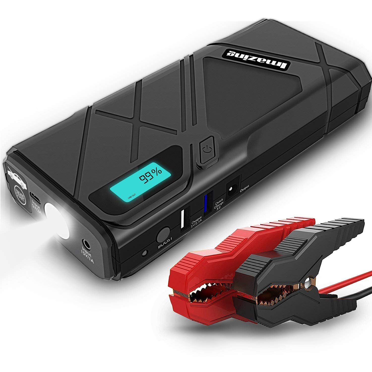 Imazing Portable Car Jump Starter - 1500A Peak 12000mAH (Up to 8L Gas or 6L Diesel Engine) 12V Auto Battery Booster Portable Power Pack with Car Portable Battery Jump Leads