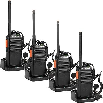 Retevis RT24 Walkie Talkie PMR 446 sin Licencia Transceptor Recargable 16 Canales 50 CTCSS 210DCS Radio Bidireccional con Auriculares y Cargador ...