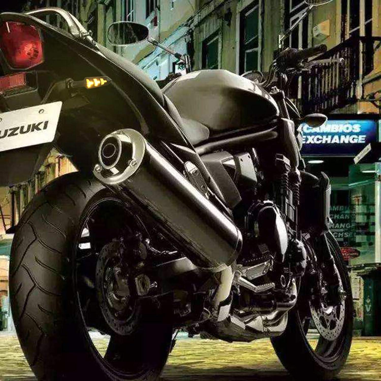 Seatecks 4X Motorrad Blinker LED Flie/ßende Motorradanzeigen 12Leds Blinker Y-f/örmige Motorrad-drehanzeige wasserdichte Universal 12 V