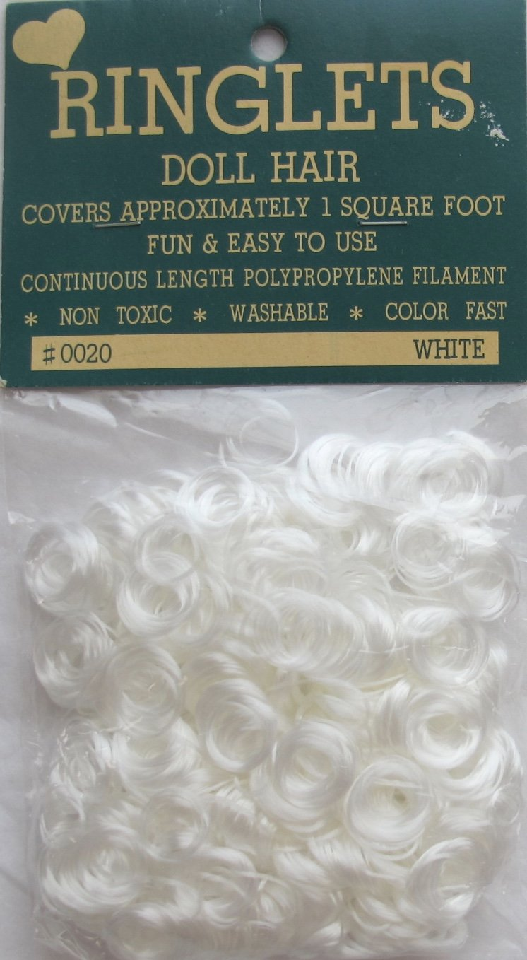 Made in Taiwan RINGLETS Craft PACK of 1 Curly DOLL HAIR Color WHITE Synthetic Covers 1 SQUARE FOOT