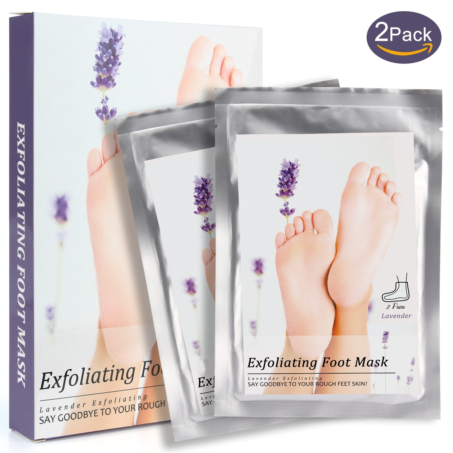 2 Pairs Foot Peel Mask, Lavender Exfoliating Foot Mask for Peeling off Calluses and Dead Skin Cells, For Man and Women