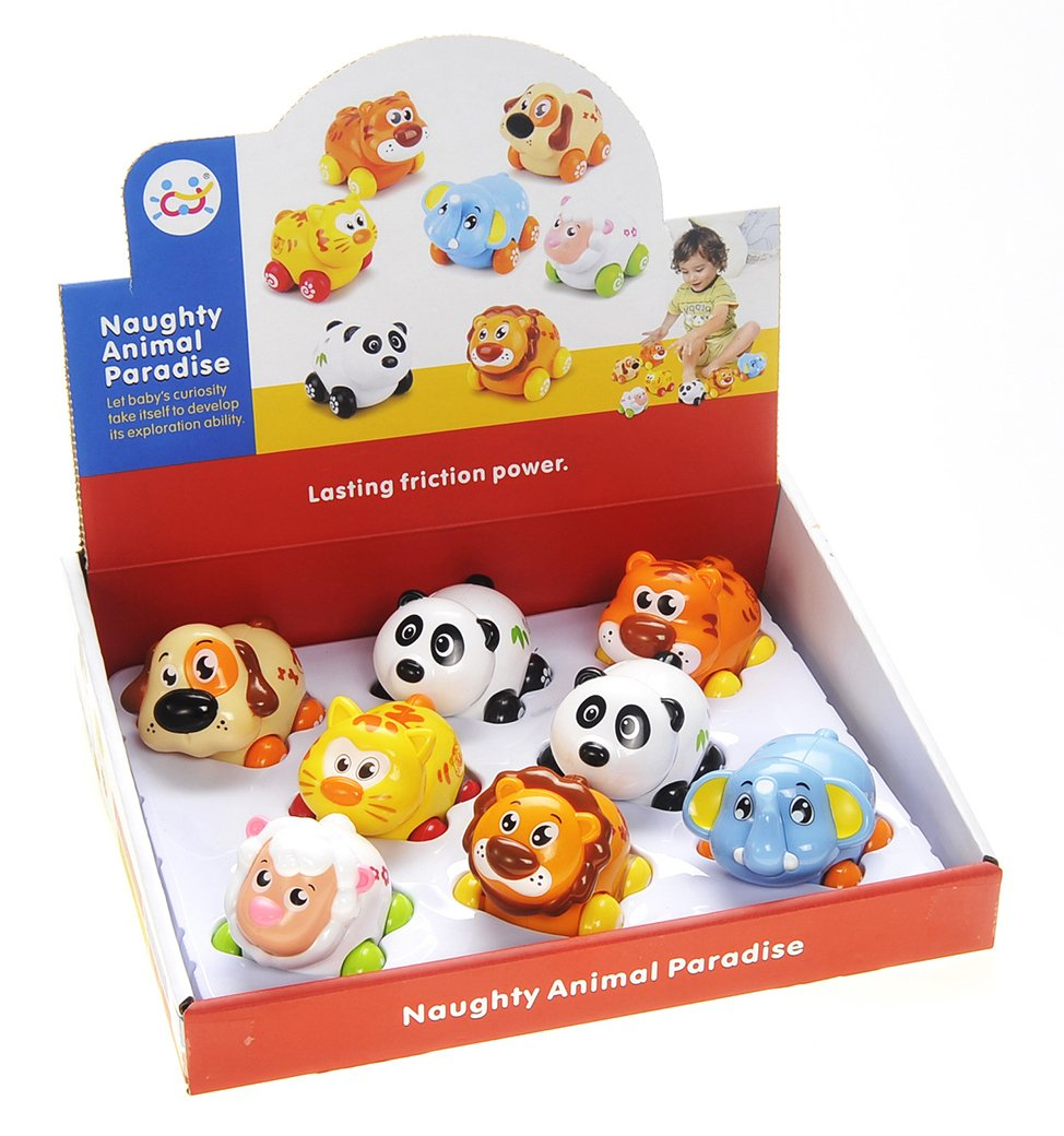 AMPERSAND SHOPS Set of Eight 8 Toddler Pull Back Miniature Cars Friction Powered Cute Animal Collection Toy Set