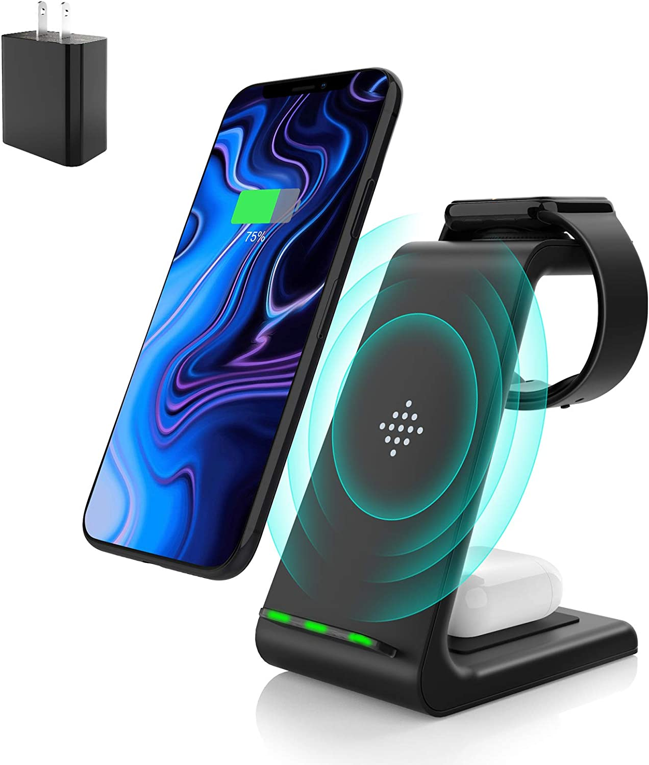 Wireless Charging Stand, Muleug 3 in 1 Wireless Charger Charging Station Dock for Apple Watch 5 4 3 2, Airpods Pro, iPhone 11/11 Pro/X/Xr/Xs/8 Plus, Qi-Certified Phones (with QC3.0 Adapter)