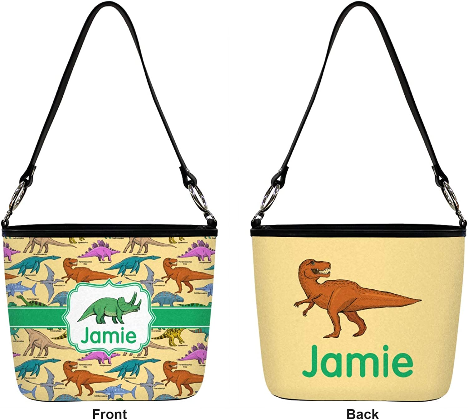 Dinosaurs Bucket Bag w//Genuine Leather Trim Regular Personalized Front /& Back