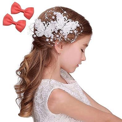 6ea373c689316  GOKEI CO  ビジュー付き 2枚セット 子供髪飾り ヘアピン 女の子用 こども ホワイト