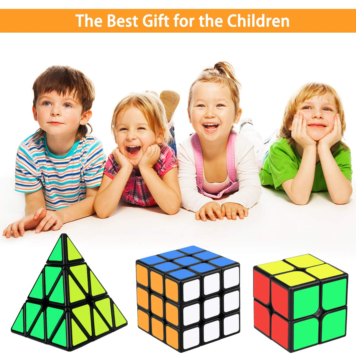 3 Pack Toy Puzzle Cube for Kids Speed Cube Set Libay Magic Cube Set of 2x2 3x3 Pyramid Smooth Sticker Cube Bundle