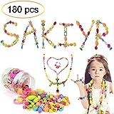 Sakiyr 180 PCS Pop Snap Beads Set for Toddlers, Creative DIY Jewelry Kit for Kids Art Crafts Intelligence Education Toys