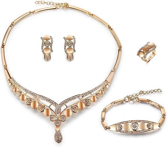 Topdo Conjunto de Collar y Pendientes para Mujer con Colgante Pavo Real,Elegante de Pendientes y Collar,Aleaci/ón,Rosa