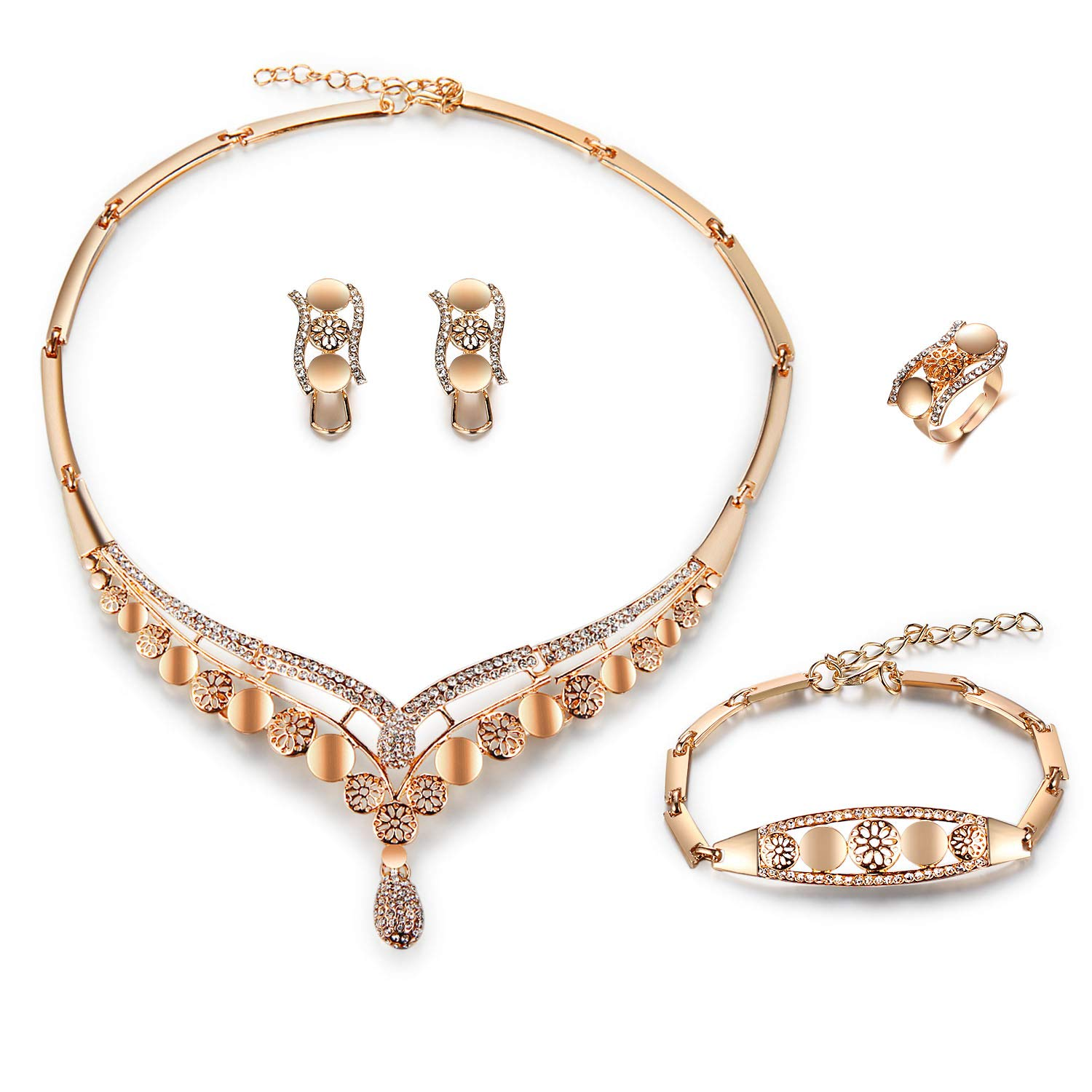 7080e00819ebd FAUOI Womens Luxury Africa Dubai 18k Gold Plated Jewelry Sets Wedding  Rhinestone Crystal Bib Statement Necklace Earrings Set for Brides Party Prom
