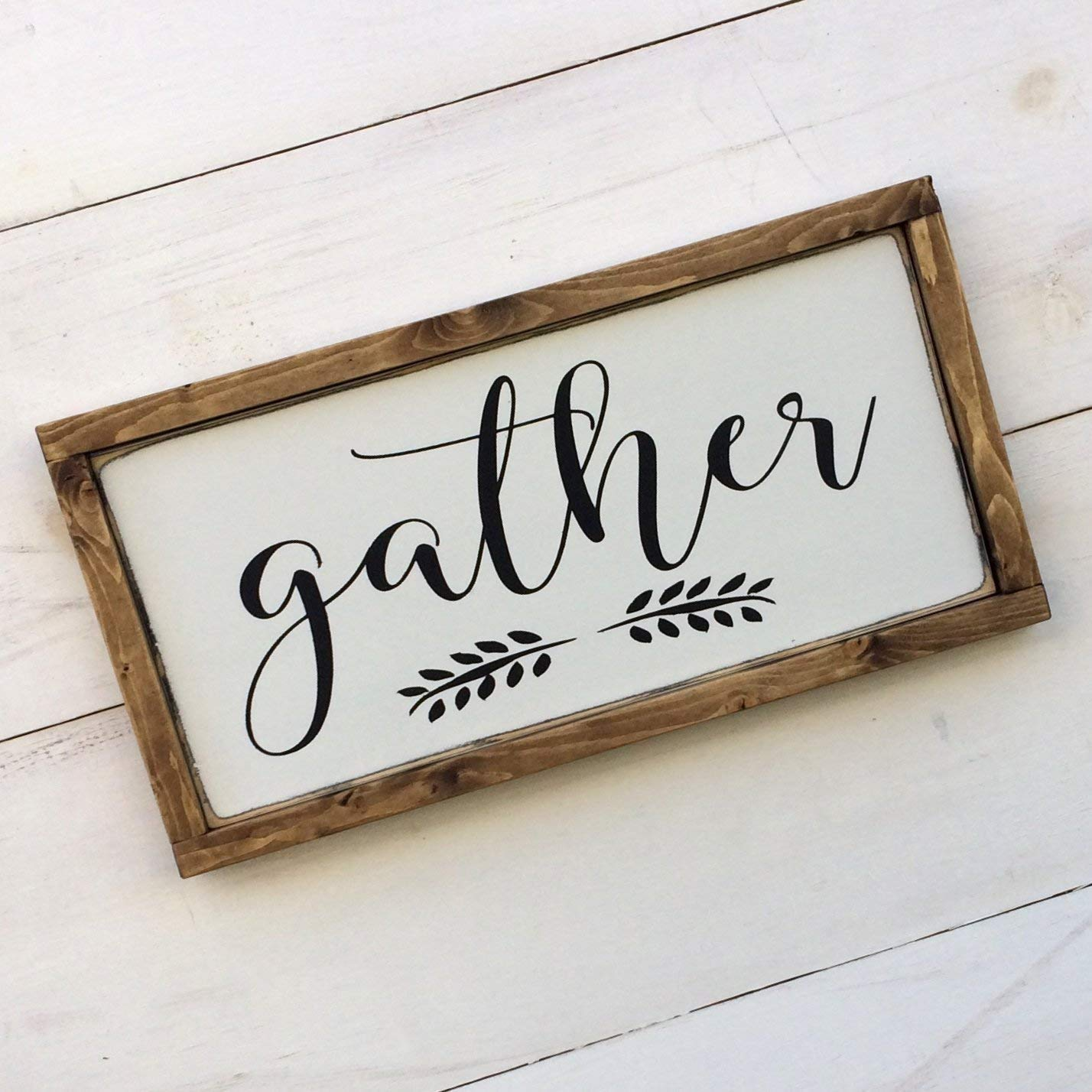 3 Sizes Handmade Wooden Gather Sign Black and White Solid Wood Frame