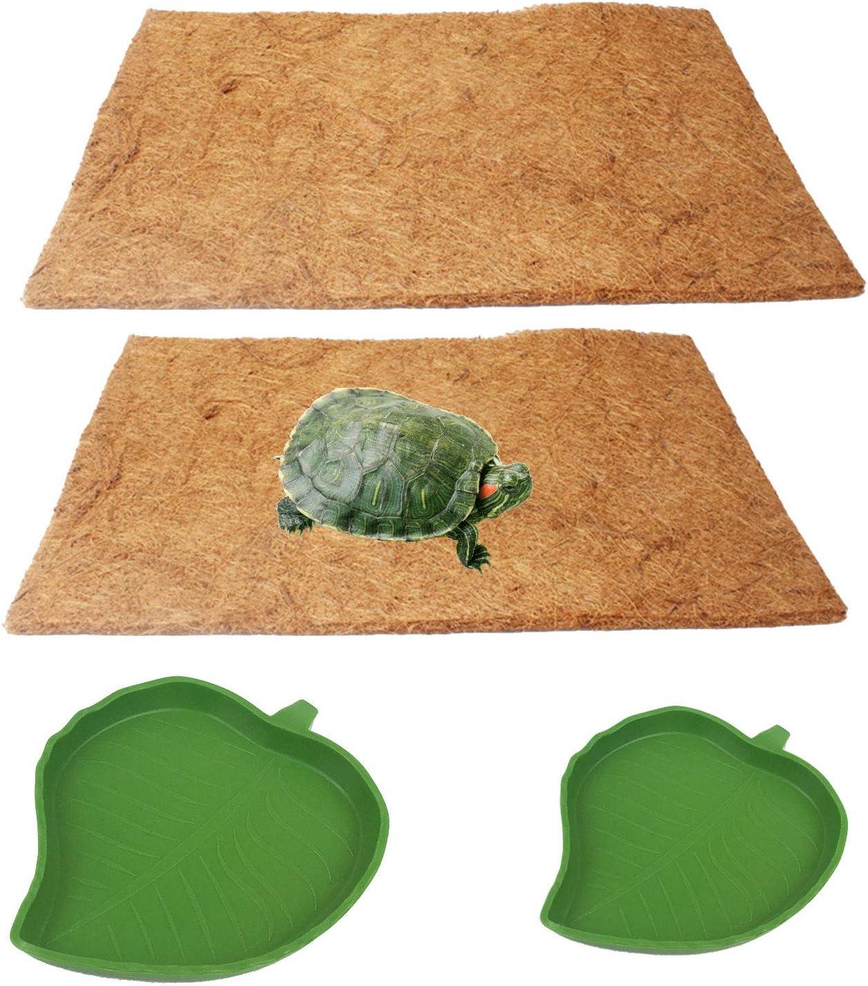 kathson Reptile Carpet Natural Coconut Fiber Lizard Mat Pet Terrarium Substrate Liner Bedding Pad Leaf Food Water Bowl for Lizard Snake Chameleon Turtle Bunny Rabbit