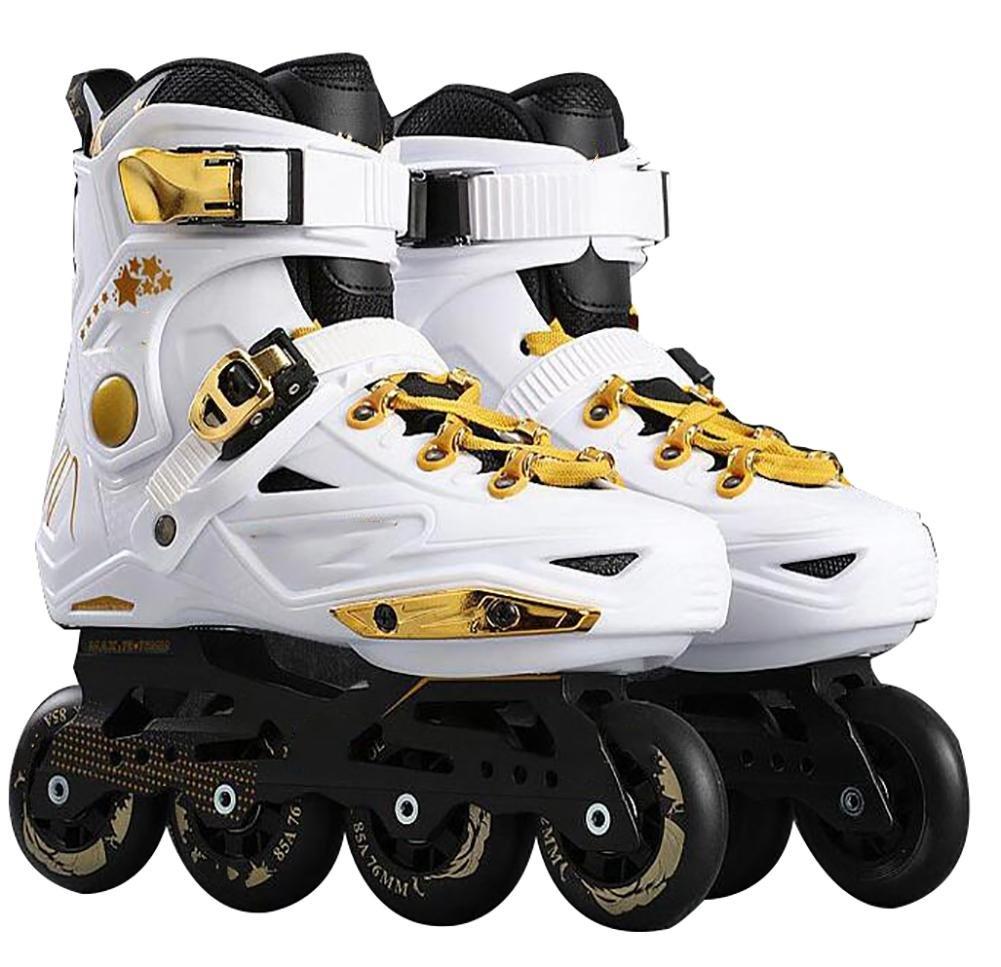 Inline Skates For Men Unisex Racing PP Material 3D Aluminum Alloy Bracket PVC High Elasticity PU Wheels White-Golden , 38
