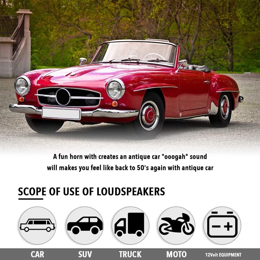 Festnight 12V Vintage OO-GA Corne Classique pour Ford Mod/èle Ancien Style Ancien /École T-Ford Chrome 110dB Voiture Moto