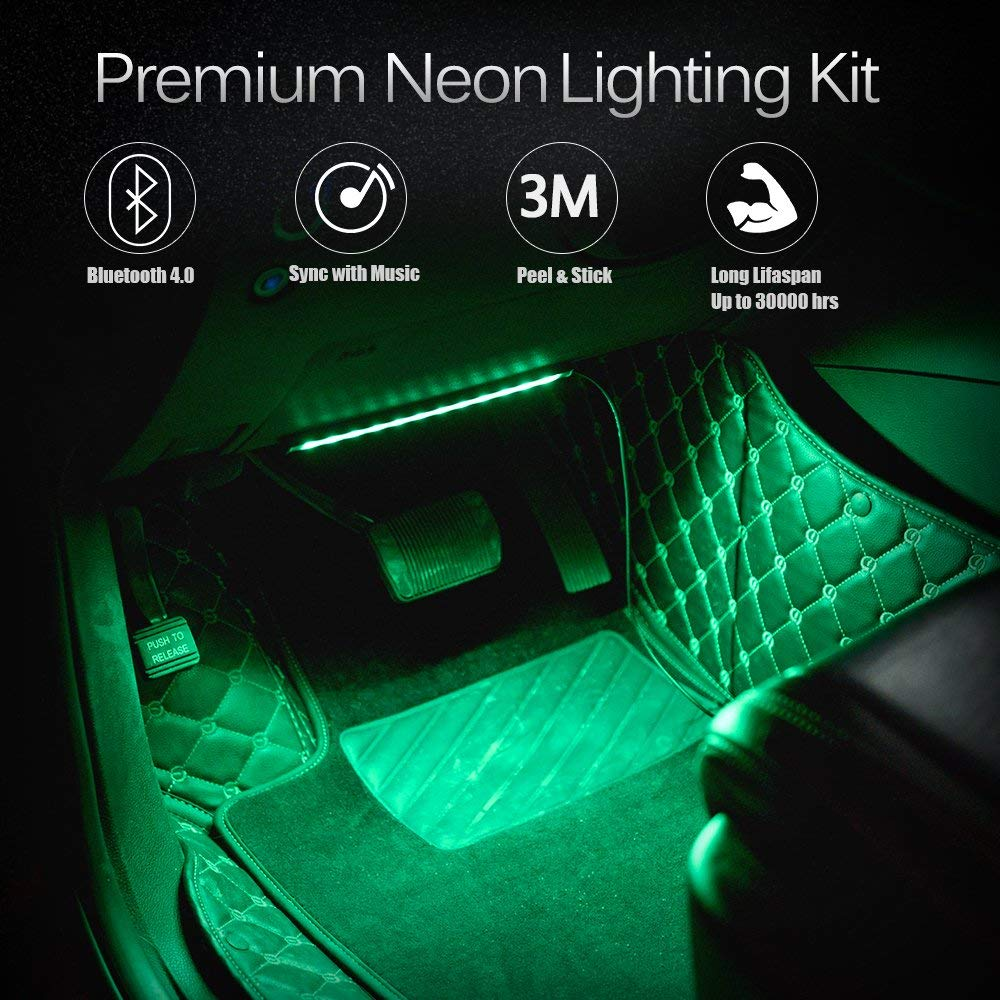 EXPERTBEAM Car LED Strip Lights 8 colours 4 pcs 48 LED Multi Color Interior Lights New App Control Under Dash Lighting Kit DC 12V