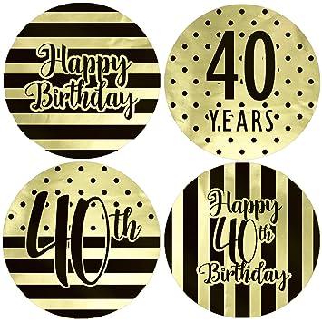 Amazon.com: Pegatinas de oro para 40 cumpleaños, diseño de ...