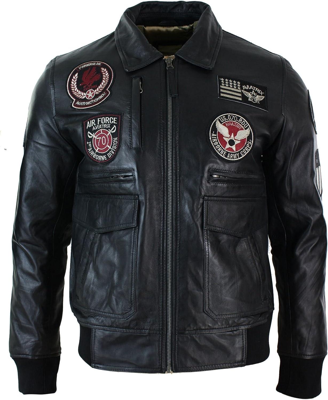 Aviatrix Chaqueta Negra Tipo Piloto de Fuerzas aereas de Cuero para Caballero con Insignia Negro