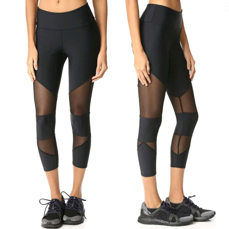 3//4 Yoga Gym Leggings Pants Mingfa Hollow Mesh Patchwork Workout Sports Trousers for Women Ladies