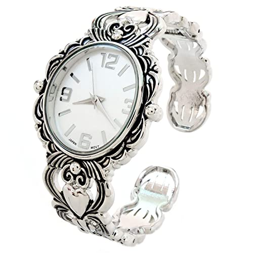 cb8ed3393 Image Unavailable. Image not available for. Color: Silver Metal Decorated  Large Oval Face Women's Bangle Cuff Watch
