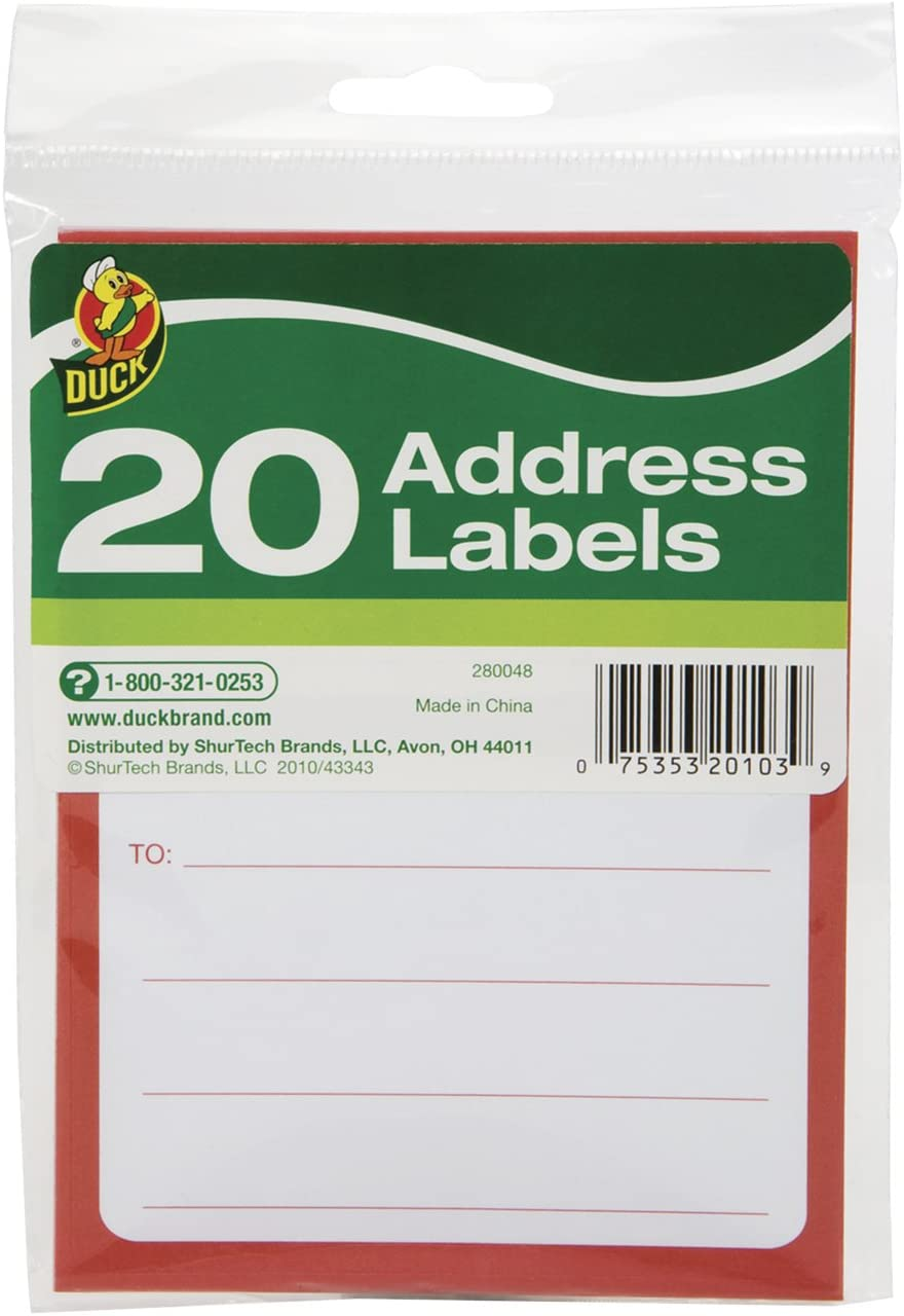 Duck Brand To/From Pressure-Sensitive Address Mailing Labels, 20 Label Pack (280048),White