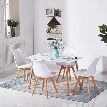 HJ WeDoo Table Salle à Manger Rectangulaire Scandinave Design Bois pour 4 a  6 Personnes Blanche 110 x 70 x73 cm Pieds Ronds en Hêtre
