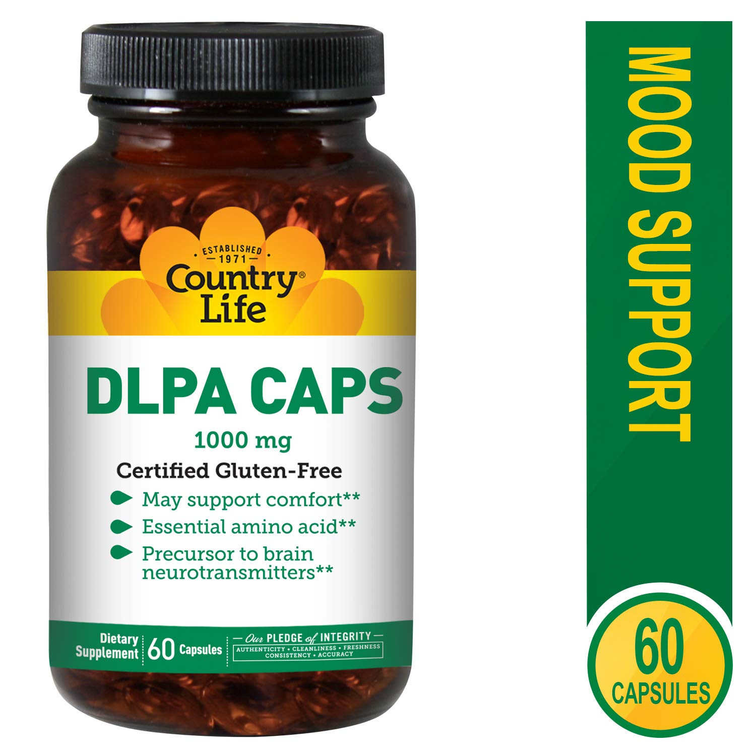 Country Life DLPA CAPS 1000 mg - 60 Capsules - Support Comfort - Amino Acid - Precursor to Brain neurotransmitters by Country Life