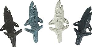 Set of 4 Cast Iron Shark Tail Wall Hooks Decorative Nautical Beach Bathroom Towel Or Coat Hanging Decor