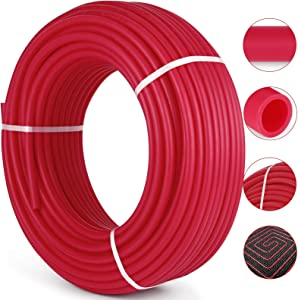 """Happybuy 1/2 Inch PEX Tubing Potable Water Tube 300 FT PEX-B Plumbing Pipe Non-Barrier Radiant Heating Pex Coil for Water Plumbing Open Loop Hydronic Heating Systems (1/2"""" Non-Barrier, 300Ft/Red)"""