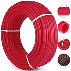 """Happybuy Oxygen Barrier PEX Tubing - 1/2 Inch X 500 Feet Tube Coil - EVOH PEX-B Pipe for Residential Commercial Radiant Floor Heating Pex Pipe (1/2"""" O2-Barrier, 500Ft/Red)"""