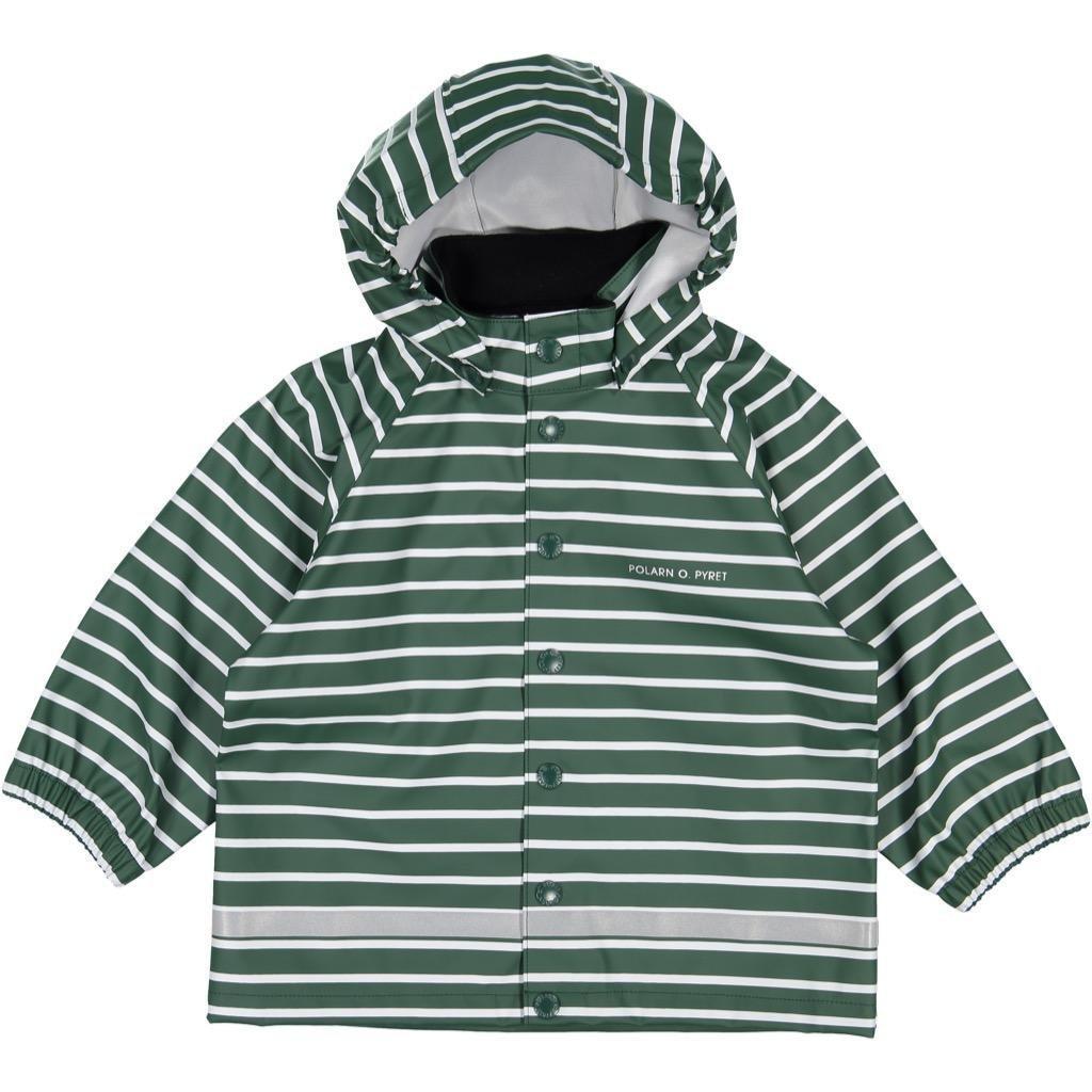 Polarn O. Pyret Classic Stripe RAIN Jacket (2-6YRS) - Garden Topiary/4-6 Years