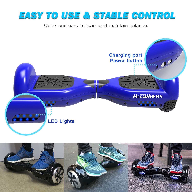 M MEGAWHEELS Scooter-Patinete El/éctrico Hoverboard Azul Motor el/éctrico 500w 6.5 Pulgadas con Bluetooth Velocidad 10-12 Km//h.