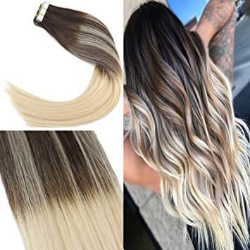 Youngsee 22 Balayage Tape Hair Extensions Human Hair Ombre Dark Brown Mixed Bleach Blonde