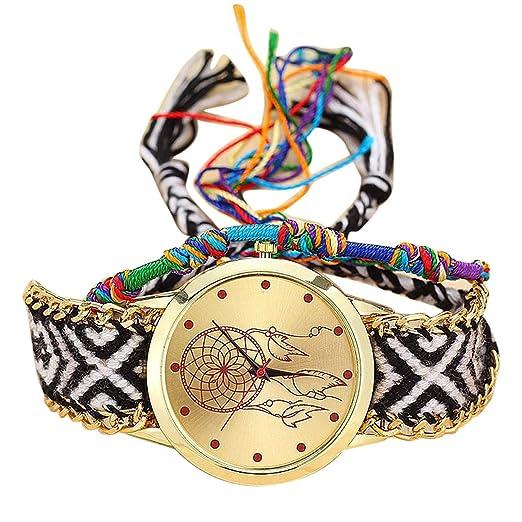 ¡Oferta Caliente! Reloj Bohemio de Cuarzo para Mujer y niña, Hecho a Mano, Estilo Vintage, atrapasueños: Amazon.es: Relojes
