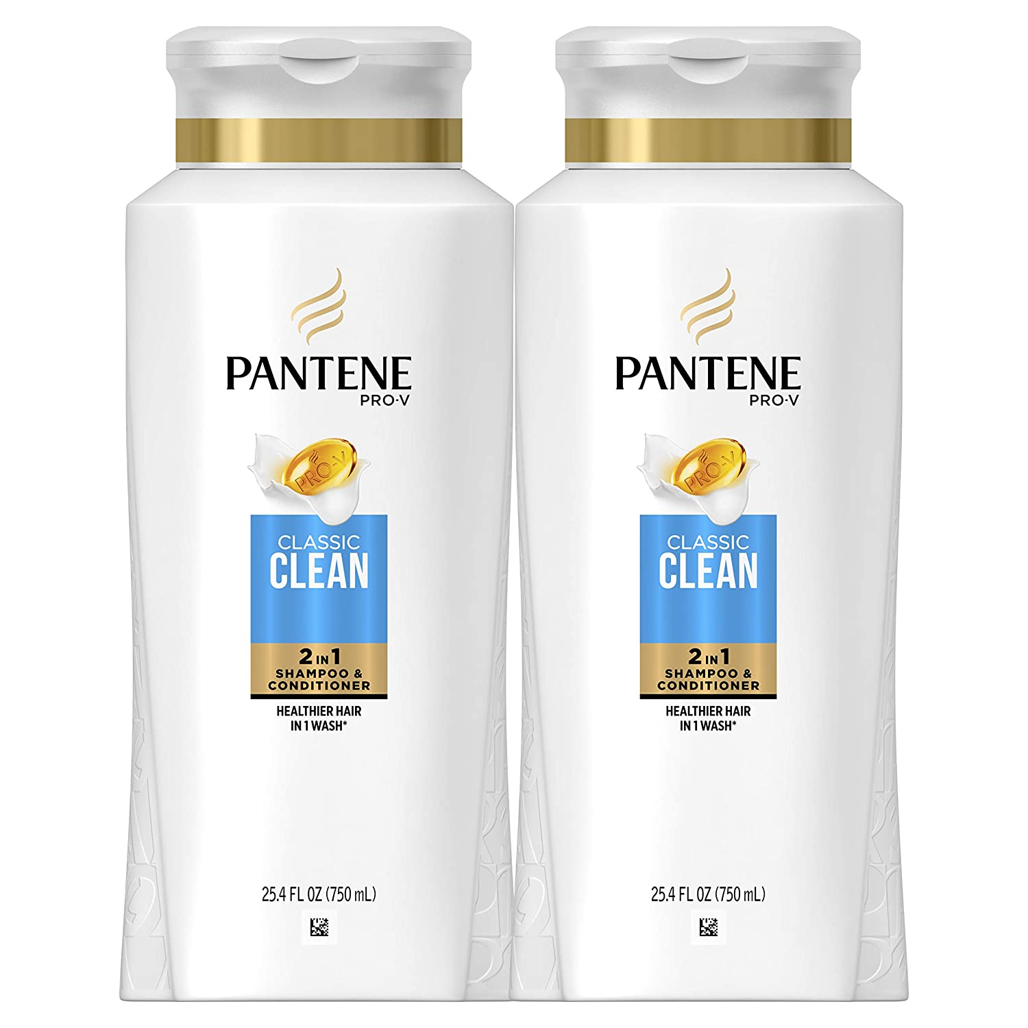 Pantene, Shampoo and Conditioner 2 in 1, Pro-V Classic Clean, 25.4 Fl Oz, Pack of 2