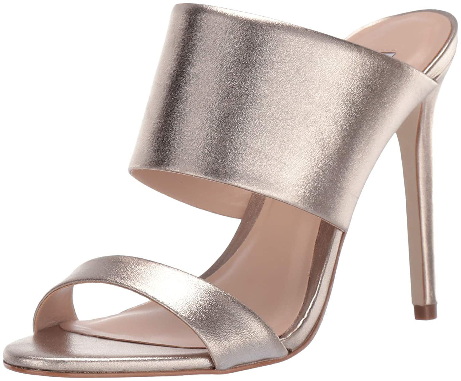 gold Leather Steve Madden Womens Mallory Heeled Sandal