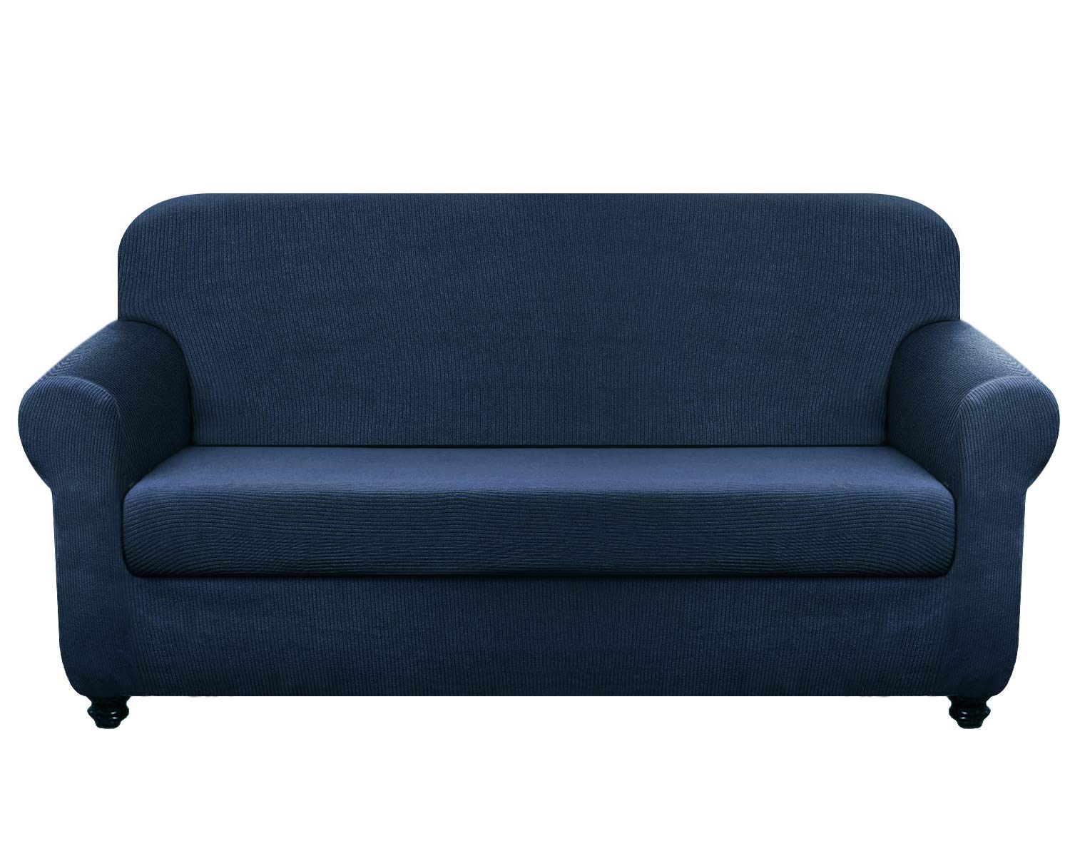 Chelzen Stretch Loveseat Covers Living Room 2-Piece Couch Covers Striped Furniture Protectors Spandex Fabric Dog Sofa Slipcovers (Loveseat, Navy Blue)