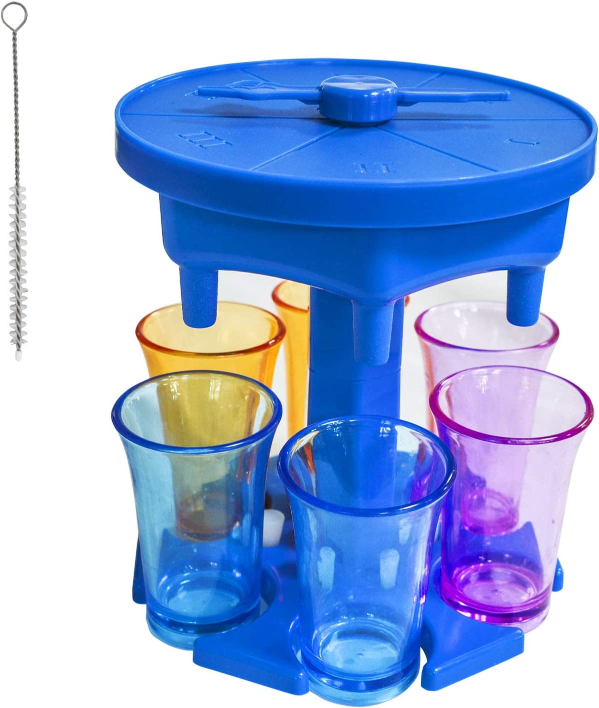 6 Shot Glass Dispenser and Holder, Shot Buddy Dispenser, Drink Beverage Dispenser for Party, Wine Liquid Dispenser, Shot Pourer Caddy Liqour Bottle Dispenser for Bar, with Game Turntable (Blue)