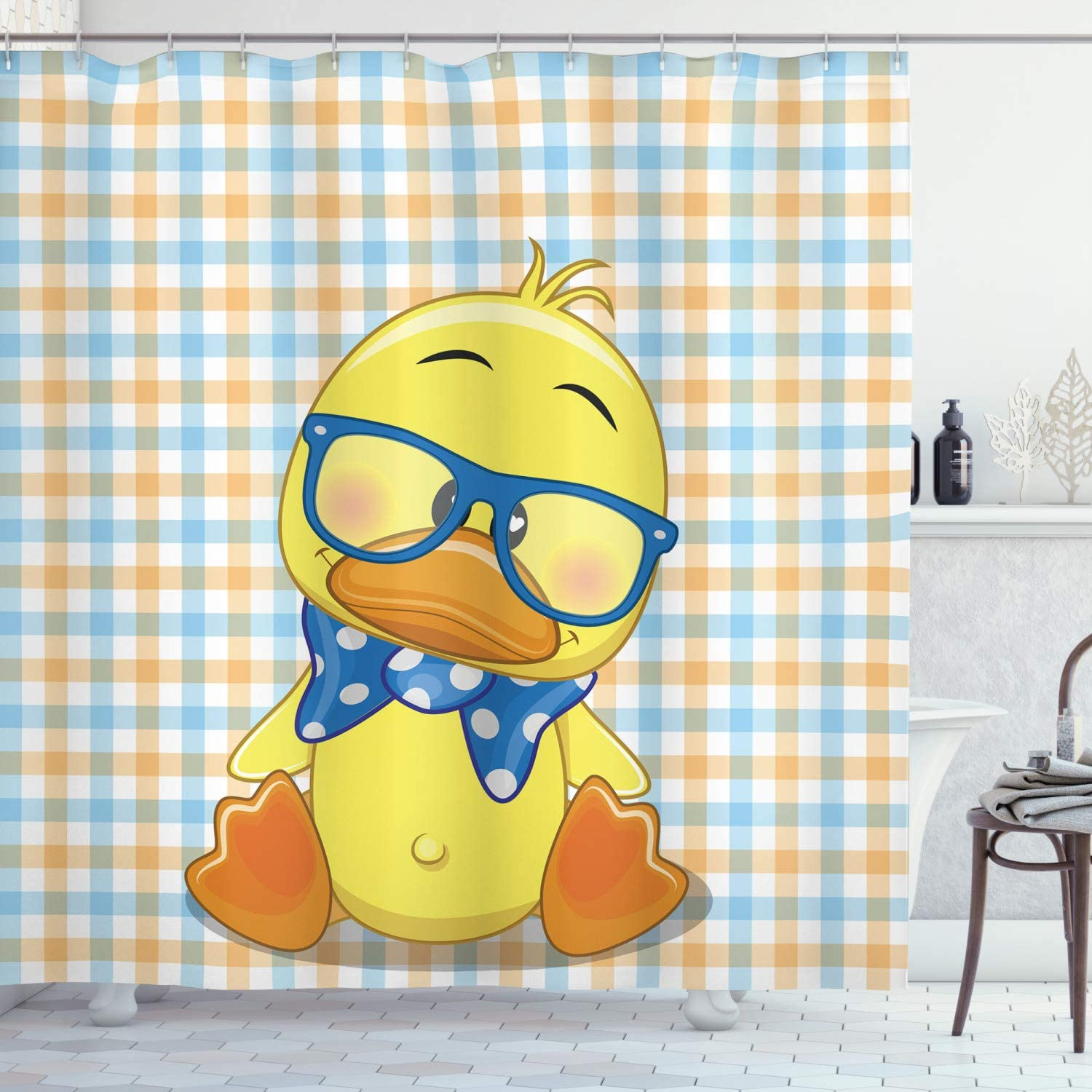 """Ambesonne Cartoon Shower Curtain, Hipster Boho Baby Duck Dotted Bow Cool Free Spirit Smart Geese Design, Cloth Fabric Bathroom Decor Set with Hooks, 75"""" Long, Orange Yellow"""