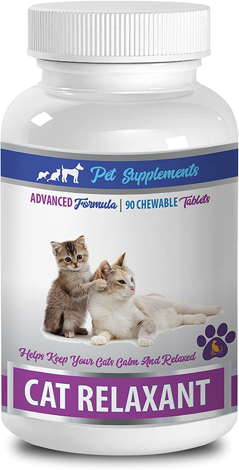 PET SUPPLEMENTS cat Relaxing Pills - CAT Relaxant - Calm and Relaxed Formula - Anxiety Relief - Chewy Treats - tryptophan for Cats - 1 Bottle (90 Chews)
