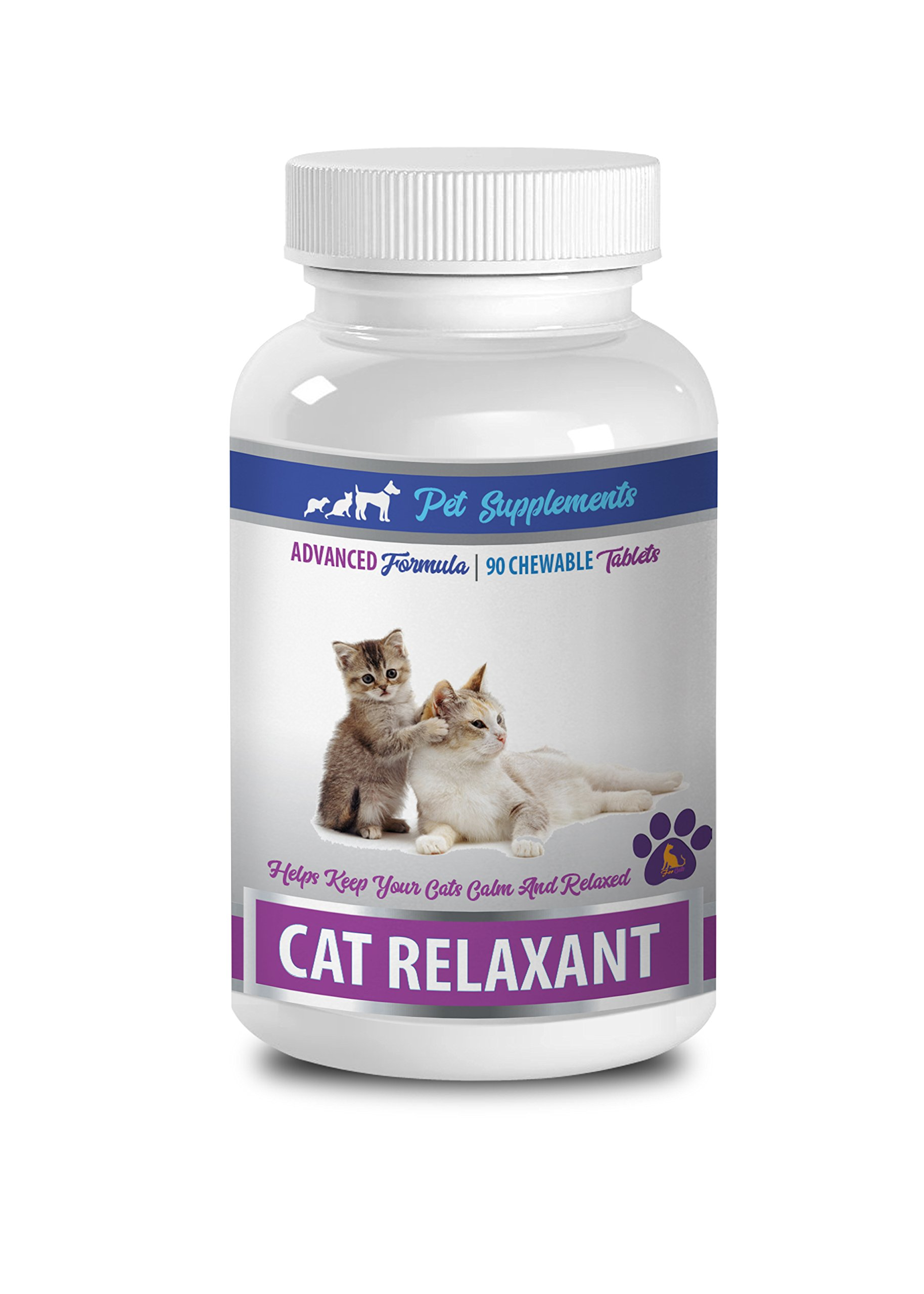PET SUPPLEMENTS cat calming travel - CAT RELAXANT - KEEPS CATS CALM AND RELAXED - CHEWABLE TREATS - tryptophan cat - 1 Bottle (90 Chews)