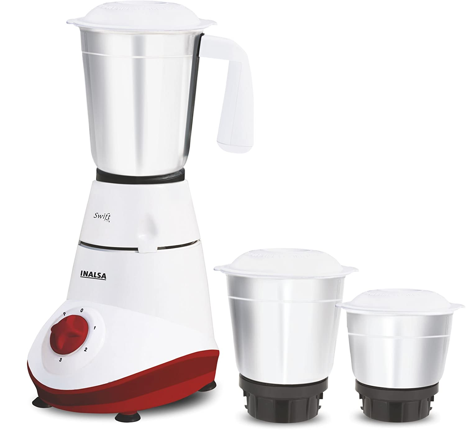 Inalsa Swift 500-Watt Mixer Grinder with 3 Jars (White and Red)