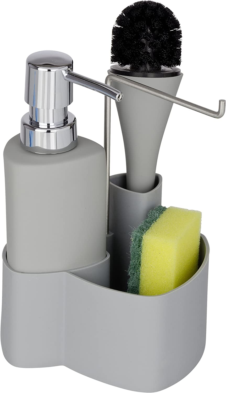 Soft-Touch Keramik Fassungsverm/ögen: 0,25 l grau Sp/ülb/ürste 11 x 19 x 12,5 cm Wenko Sp/ül-Set Empire Handtuchhalter Sp/ülmittelspender