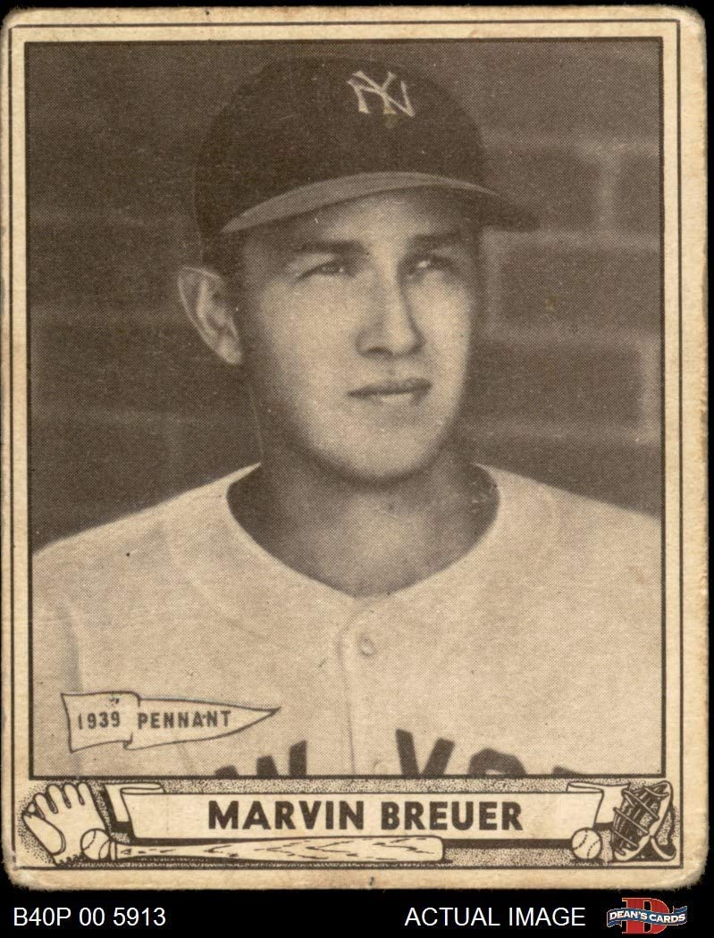 1940 Play Ball # 183 Marvin Breuer New York Yankees (Baseball Card) Dean's Cards 2 - GOOD Yankees 718BvzvZWnLSL1050_
