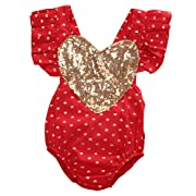 Emmababy Baby Girl Gold Heart Print Bodysuit Romper Jumpsuit Outfits Playsuit Clothes (12-18months, Red)