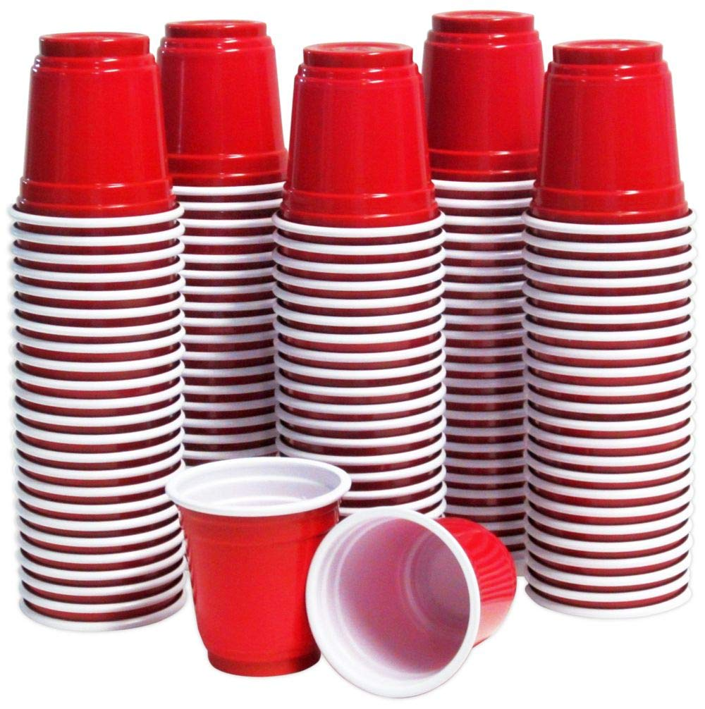Beer Pong Dipping Jager Bomb Samples 120 Shot Glasses 2oz Red Plastic Disposable Mini Party Cups for Jello Shots Sauces Condiments