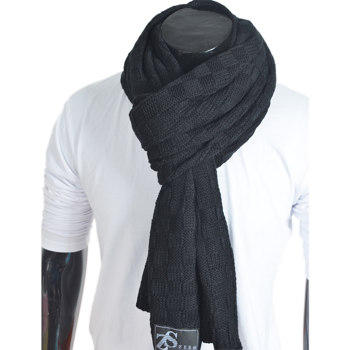 Stylish Unisex Daily Square Pattern Soft Knitted Winter Scarf E5031 (Black) by FORBUSITE