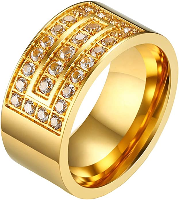 Tinxoo Mens Gold Ring 10mm Stainless Steel Cubic Zirconia Crystal