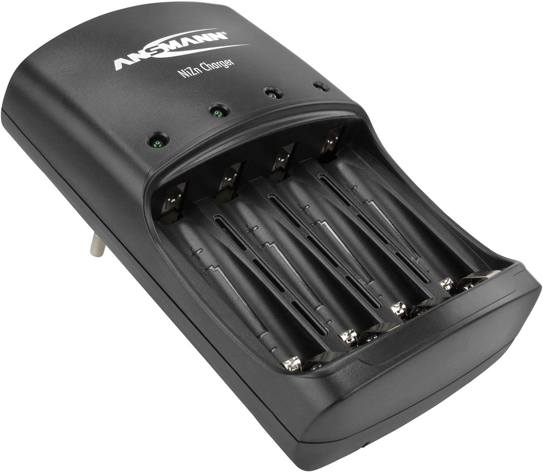 ANSMANN Cargador de níquel y zinc / cargador inteligente para 1-4 pilas recargables AAV / NiZn de tamaño AA de 1.5V: reemplaza las baterías desechables con baterías recargables debido a la misma tensi