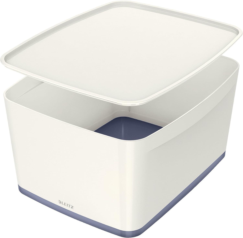 Leitz Caja de Almacenamiento con Tapa, 18 litros, Impermeable, Blanco