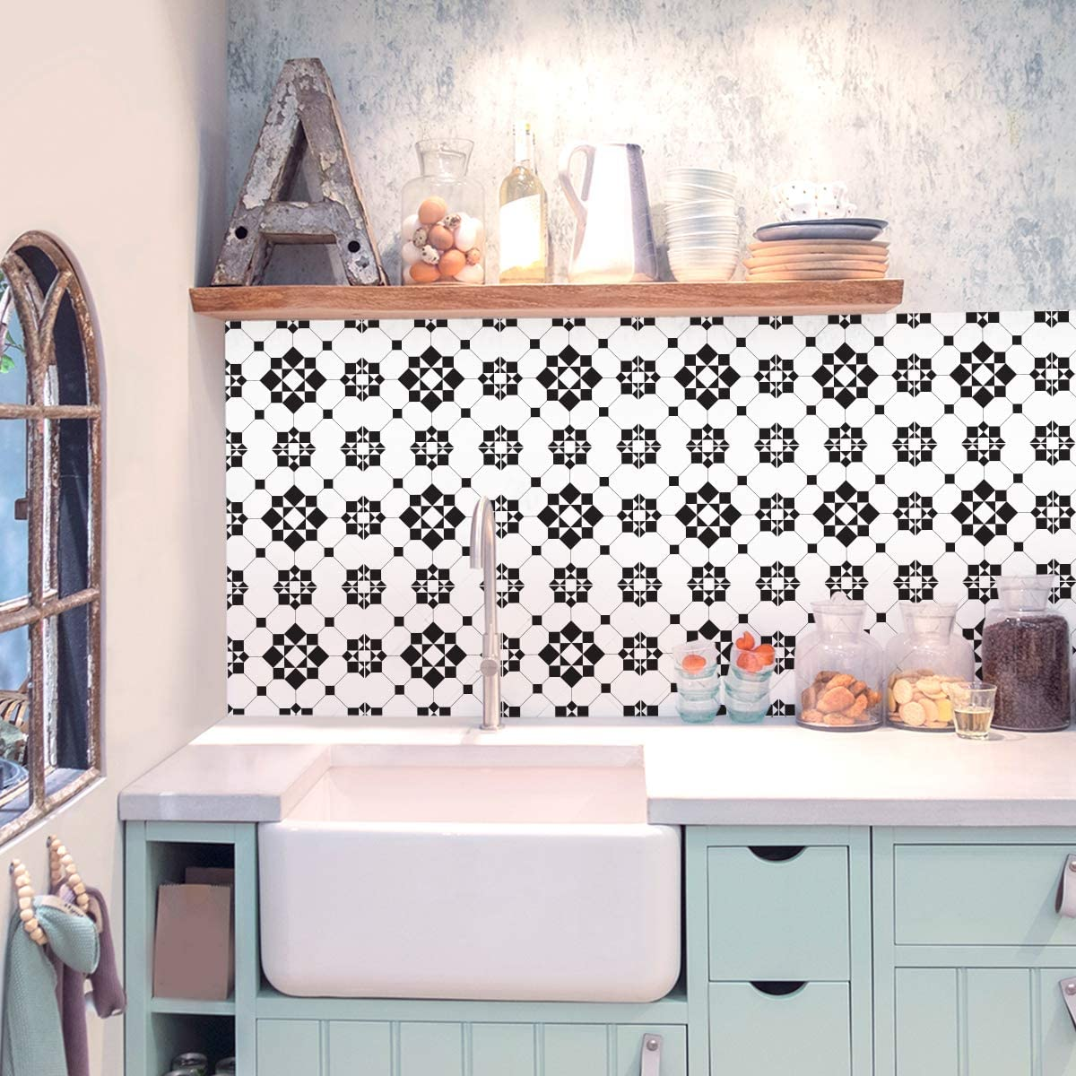 Sirface Victorian Black White Tile Decals Tile Stickers Set For Kitchen And Bathroom Pack Of 24 Different 8x8 Inches 20x20 Cm Amazon Co Uk Kitchen Home