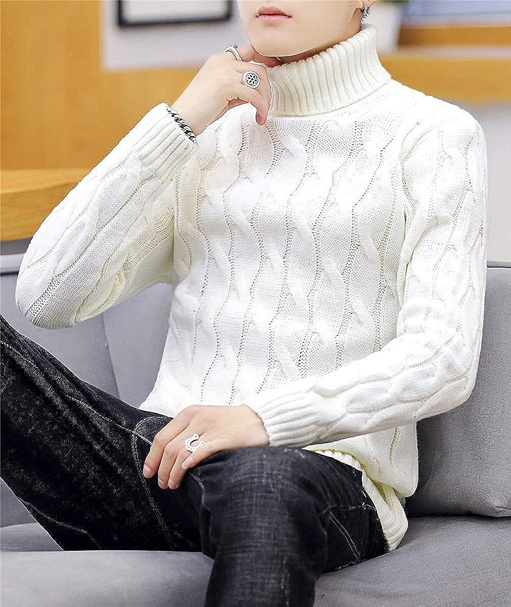 QZH.DUAO Mens Cable Knit Turtleneck Sweater